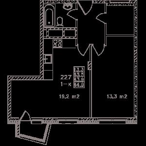 Планировка 1-комнатной квартиры в Май - тип 1
